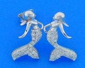 Mermaid Cz Post Earrings, Sterling Silver