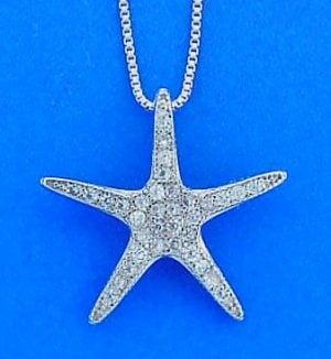 Starfish Cz Pendant, Sterling Silver