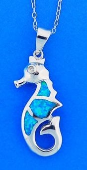 Seahorse Opal Pendant, Sterling Silver