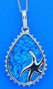 Teardrop Starfish Opal Pendant, Sterling Silver