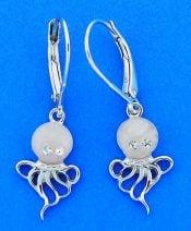 Octopus Dangle Earrings, Sterling Silver