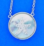 Starfish Cz Mother Of Pearl Pendant, Sterling Silver