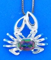 Crab Topaz Pendant, Sterling Silver