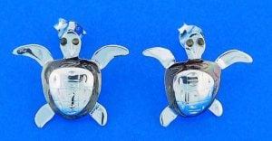 Sea Turtle Post Earrings, Sterling Silver