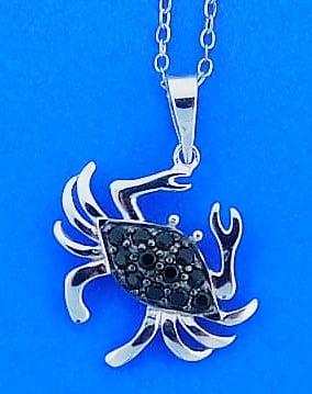 Crab Black Cz Pendant, Sterling Silver