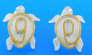 Sea Turtle 2-Tone Post Earrings, Sterling Silver
