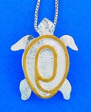 Sea Turtle 2-Tone Pendant, Sterling Silver