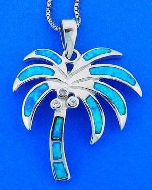 Palm Tree Opal Pendant, Sterling Silver