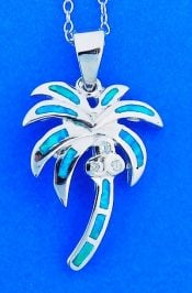 Palm Tree Opal Pendant, Sterling Silver
