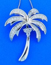 Palm Tree Cz Pendant, Sterling Silver