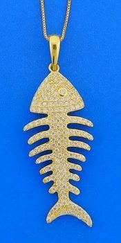 Bone Fish Cz Pendant, Sterling Silver/Gold Plate