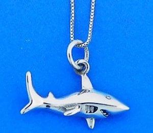 Shark Pendant, Sterling Silver