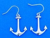 Anchor Fish Hook Dangle Earrings, Sterling Silver