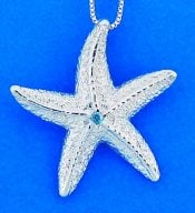 Starfish Pendant With Blue Crystal, Sterling Silver