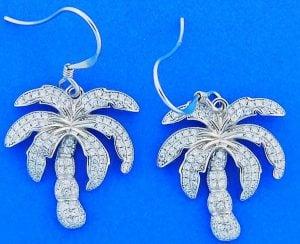 Palm Tree Cz Earrings, Sterling Silver