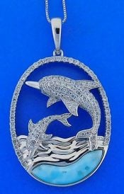 Larimar And Dolphins Wave Cz Pendant, Sterling Silver