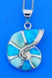 Nautilus Shell Pendant With Larimar And Opal, Sterling Silver