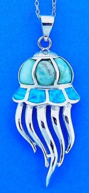 Jellyfish Pendant With Larimar And Opal, Sterling Silver