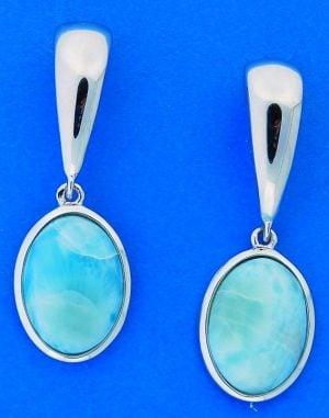 Larimar Oval Earrings, Sterling Silver