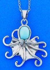 Larimar Octopus Pendant, Sterling Silver
