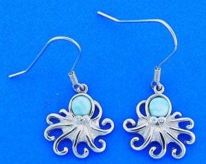 Larimar Octopus Earrings, Sterling Silver