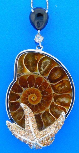 Ammonite / Cz Starfish Pendant, Sterling Silver