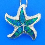 Starfish Opal Slide Pendant, Sterling Silver