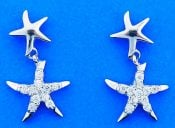 Starfish Cz Post Dangle Earrings, Sterling Silver