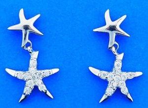 Starfish Cz Post Dangle Earrings, Sterling Silver