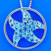 Starfish Blue Topaz Pendant, Sterling Silver