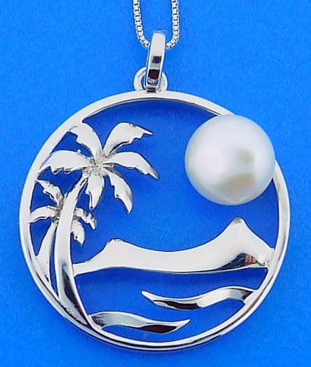 Lbi Nj: Alamea Palm Tree Wave Pearl Pendant, Sterling Silver