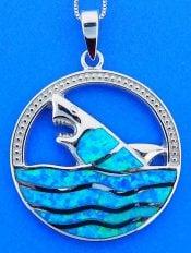 Shark Opal Pendant, Sterling Silver