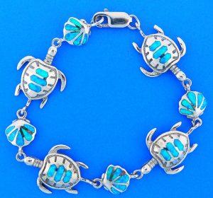 Sea Turtle, Shell Opal Bracelet, Sterling Silver
