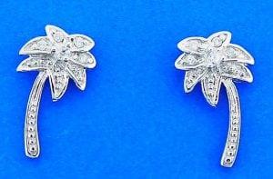 Palm Tree Cz Post Earrings, Sterling Silver