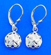 Sand Dollar Lever Back Earrings, Sterling Silver