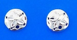 Sand Dollar Post Earrings, Sterling Silver