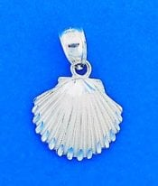 Shell Pendant/Charm, Diamond-Cut, Sterling Silver