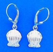 Scallop Shell Leverback Earrings, Sterling Silver