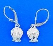 Diamond-Cut Sea Shell Lever Back Earrings, Sterling Silver