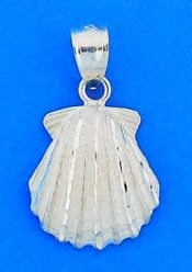Scallop Shell Diamond-Cut Pendant, Sterling Silver