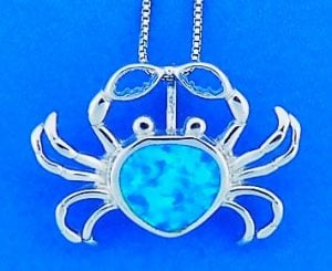 Crab Opal Pendant, Sterling Silver