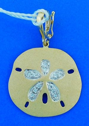 Denny Wong Diamond Sand Dollar Enhancer/Pendant, 14k Yellow Gold