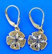 Sand Dollar Lever Back Earrings, 14k Yellow Gold