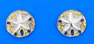 Sand Dollar 2-Tone Post Earrings, 14k Yellow Gold