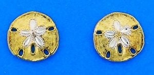 Sand Dollar 2-Tone Post Earrings, 14k Yellow Gold