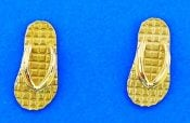 Flip Flop Post Earring, 14k Yellow Gold