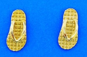 Flip Flop Post Earring, 14k Yellow Gold