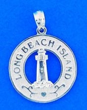 Long Beach Island Lighthouse Pendant/Charm, Sterling Silver