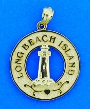 Long Beach Island Lighthouse Pendant/Charm, 14k Yellow Gold