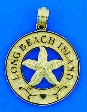 Long Beach Island Starfish Pendant/Charm, 14k Yellow Gold